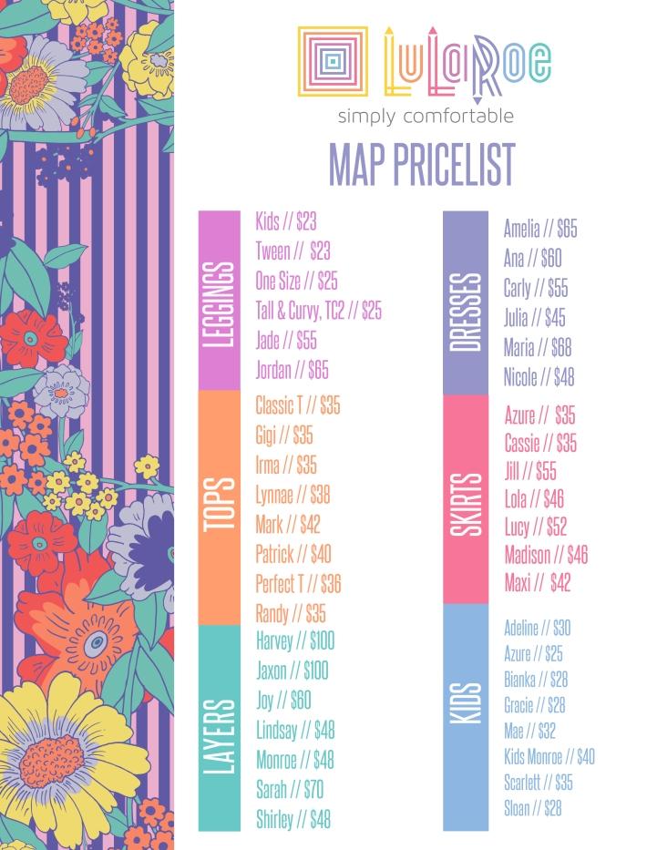LuLaRoe Prices By Style GirlPower LuLaRoe Boutique - Lularoe map pricing